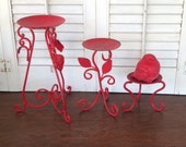 Red Scrolled Leg Metal Candle Holders w/Bird - 3 Pc Table Top Fall Decor