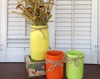 Vintage Mason Jar Centerpieces - Table Top Painted Jars Lime Orange Yellow