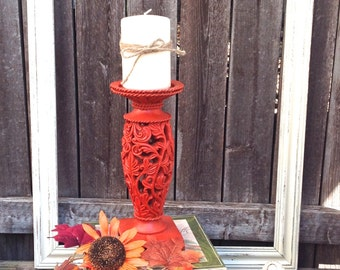 Ornate Pillar Candle Holder - French Country Orange Table Top Decor