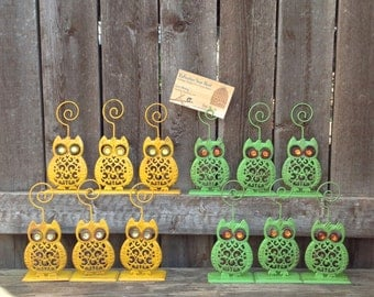 Owl Place Card Holders - Set of 12 Filigree Metal Table Setting - Party Table Decor