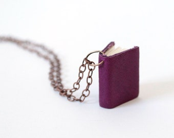 Tiny Purple Leather Book Necklace Pendant - Long Bronze Chain - Layer Accessory