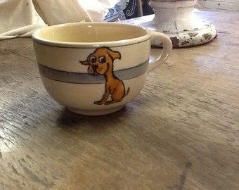 Vintage Child's Roseville Cup with Picture of Dog