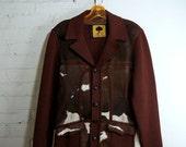 SALE Hair on Hide Western Jacket 1950s Vintage Sweater Blazer Mens 38 Rockabilly Pony Fur Knit Blazer Cowhide Leather Cardigan Panel Jumper