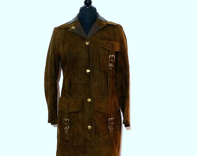 Brown Suede Coat Retro Mod Jacket SMALL 1960s Vintage Lamb Leather & Suede Jacket Bohemian Lambskin Boho Mod Outerwear Aleksander of Norway