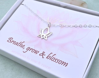 Lotus Necklace - breathe, grow & blossom - message card - lotus jewelry - yoga necklace - inspirational quote jewelry