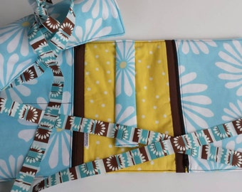 Ready to ship! Aqua Daisy and Yellow Polka Dot Travel Jewelry Roll