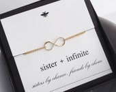 Simple Gold Sister Infinity Bracelet....Mother, Daughter, Son, Bridal, Sister