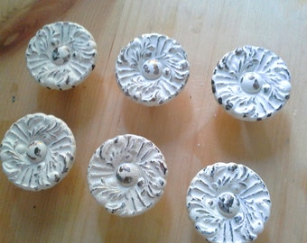 Cabinet Knobs, French style Chippy Paint Vintage brass set of six knobs painted and distressed, door hardware in antique white