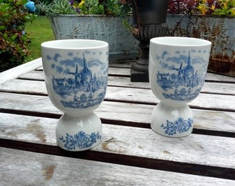 Vintage China Egg holders, Made in England, Blue and White toile, holds both hardboiled and poached eggs, choose 2 or 4,