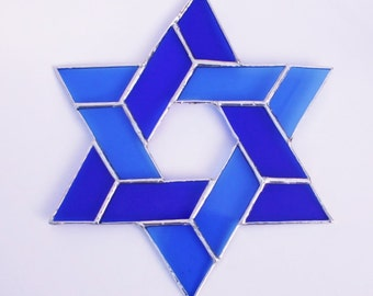 Stained Glass Star of David Blue Sun Catcher