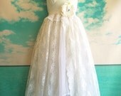 white chiffon tulle & lace fishtail  wedding dress with knife pleat bodice and ruffles by mermaid miss k