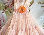 pale peach chiffon tiered baby doll dress by mermaid miss k