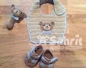 PATTERN Instant Download BEARY Cute Baby SET Crochet Bib Booties and Rattle