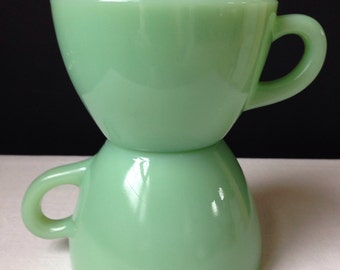 Anchor Hocking -Fire King - Restaurant Ware - Jadeite -  Cups - G299 - Extra Heavy - Set of Two