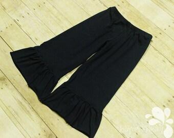 Tween Wide Ruffle Pants Comfortable Elastic Waist Coordinating Bohemian Style Made to Order Knit Custom Girl Size 8 10 12 14 Hippie Full Leg