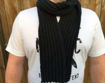 Crochet Mens Scarf, Mens Chunky Scarf, Guys Gray Scarf, Mens Ribbed Scarf, Black Scarf, Gift for Guys, Mens Gift under 40, Mens Cowl Scarf