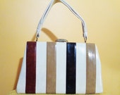Vtg 60s PATENT Cream Bag with Black, Tan, & Rust Colored STRIPES!
