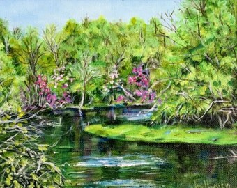 "Fine Art Original 7 X 9 Acrylic Painting ""Spring River II"""