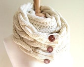 SALE Infinity Scarf Braided Cable Lightweight Knit Circle Loop Neckwarmer Scarves with Buttons  Ivory Cream Women Girls Accessories
