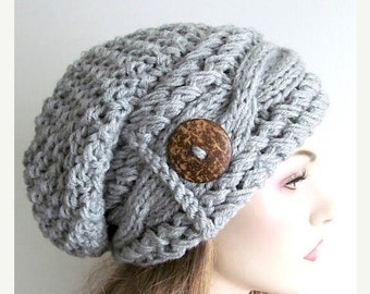 SALE Slouchy Beanie Slouch Cable Hats Oversized Baggy Beret Button womens fall winter accessory Heather Grey Super Chunky Hand Made Knit