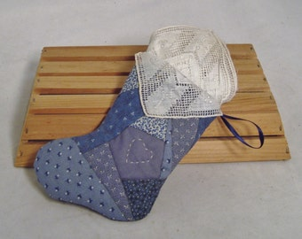 Handcrafted Strip-Quilted Miniature Stocking with Vintage Handkerchief