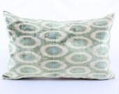 Ikat Pillow, Green Polka Pillow,Decorative Modern Pillows, Retro, Houseware, Throw Pillows, Sofa - Decor Pillow,Gift pillow,