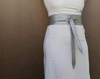 Soft Silver Mauve Leather Obi Belt - Metallic Light Wide Belt - Wrap belts - Wraparounds Urban Belts