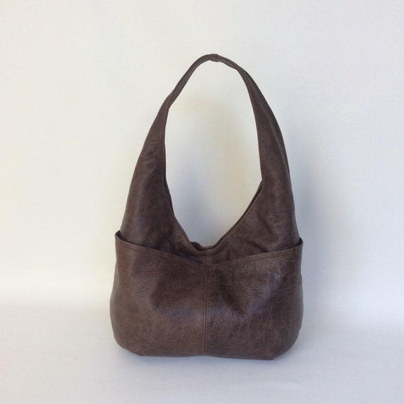 Brown Distressed Leather Hobo Purse with Outside Pockets