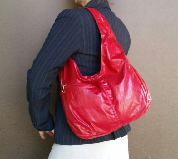 Slouchy Red Leather Hobo Purse with Outside Pockets