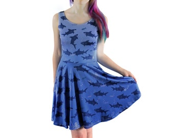 Shark Attack Dress - Size 6 to 18-20 - Skater Dress - Shark Dress - Sharks - Party Dress - Cute Clothing - Blue Summer Dress - Cute/Kawaii
