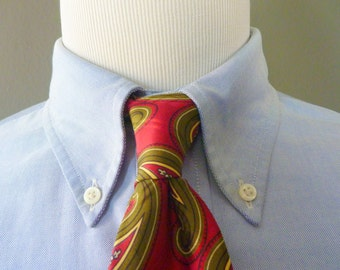 Vintage POLO by Ralph Lauren 100% Silk Large Paisleys on a Red Background Trad / Ivy League Neck Tie.  Handmade in USA.