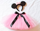 Minnie Mouse Inspired Tutu, Includes Tutu and Ear Headband, Halloween, Birthday  - Sizes 18, 24 Months, 2t, 3t, 4t, 5t