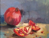 Painting with a pomegranate. Original small oil painting with fruit .Ready to ship.