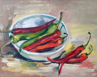 Oil painting with red hot chilly peppers. Original one-of-a-kind oil painting  .Ready to ship.