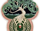 Celtic Tree of Life- Cast Paper - Tree - Green - Arbor - Big Tree - Great Oak - Acorn - Irish art - yggdrasil