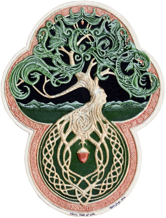 Green Arbor Big Tree Great Oak Acorn Irish Art Yggdrasil