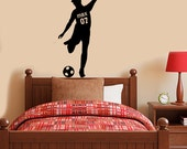 Football - soccer player for kids bedroom with personalised name on shirt
