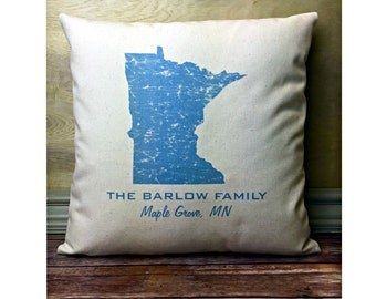 Minnesota Pillow, State Pillow, Personalized  State Pillow, Family Name Pillow, Custom State Pillow, Minnesota Gift, Housewarming Gift