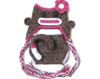 SALE Baby Girl Sock Monkey Diaper Cover and Earflap Hat Set With Flower, Photography Prop, RETRO, KITSCH