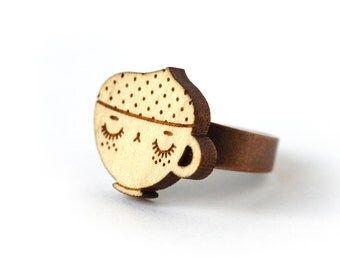 Coffee cup ring - maple wooden ring - cute food jewelry - metal and wood ring - lasercut minimalist jewelry