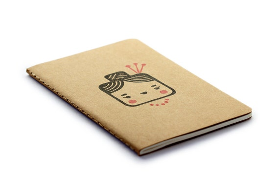 Cute Moleskine notebook Madame - Handstamped with cute character illustration - A6 / small