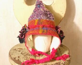 Baby girl hat Gnome hat Crochet baby hat Winter hat Shower gift Fairy hat Toddler hat Mom Gift idea Knit baby hat Green crochet hat