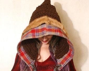Crochet hood Brown knit hat Hooded hat Adult hood hat Brown crochet hood Pixie hat Brown woman hat Hood knit hat Ear flap hat