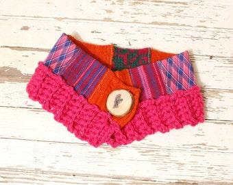 Pink neckwarmer Scarf neckwarmer Woman neckwarmer Cowl scarf woman Button scarf Short scarf Cowl neck scarf Woman gift Knit neckwarmer