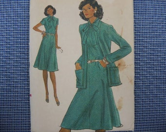 vintage 1980s Vogue sewing pattern 9118 misses dress and jacket size 16