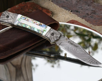 Handmade Damascus Folding Hunter Knife with Mother of Pearl and Abalone Handles, Custom File Work, Leather Sheath, FREE Shipping
