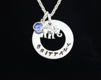 Personalized Elephant Hand Stamped Necklace with Silver Elephant Charm and Swarovski Crystal Birthstone