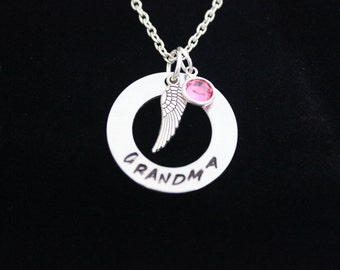 Grandma Memorial Hand Stamped Necklace with Silver Angel Wing Charm and Swarovski Crystal Birthstone