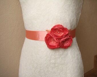 Coral Wedding Sash, Bridal Belt, Bridesmaid Dress Belt