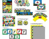 Superhero Building Block MINI Printable Party Collection (partial instant download) | Construction